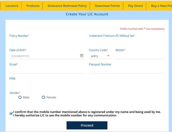 lic policy new registration hindi